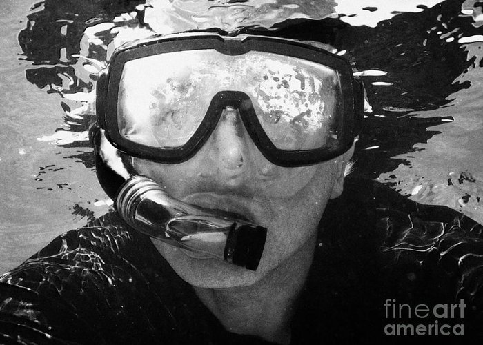 Man Greeting Card featuring the photograph Man Snorkeling With Mask And Snorkel In Clear Water Dry Tortugas Florida Keys Usa by Joe Fox