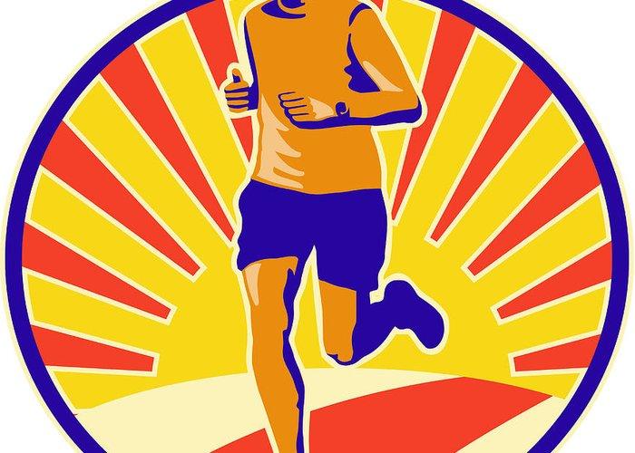 Marathon Greeting Card featuring the digital art Marathon Runner Athlete Running by Aloysius Patrimonio