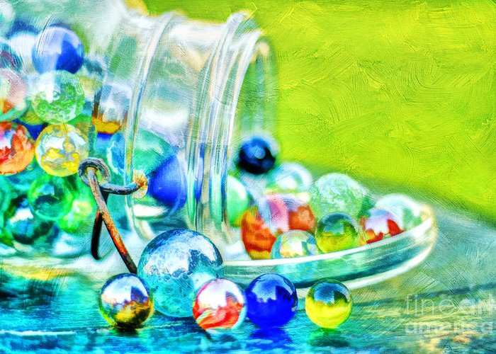 Jar Greeting Card featuring the photograph Marbles by Darren Fisher