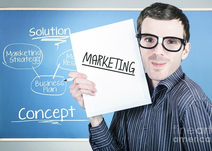 marketing man displaying business plan for success greeting card, Greeting card