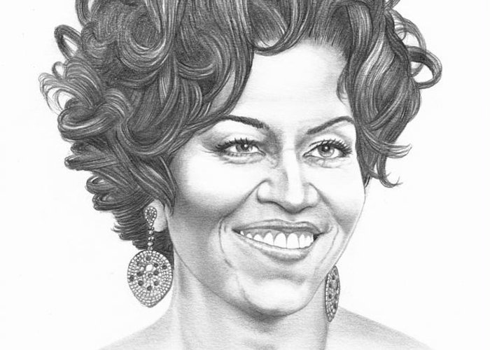 Portrait Greeting Card featuring the drawing Michelle Obama by Murphy Elliott