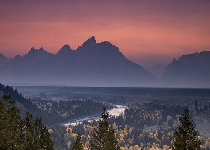 Mountain Greeting Card featuring the photograph Misty Teton Sunset by Andrew Soundarajan
