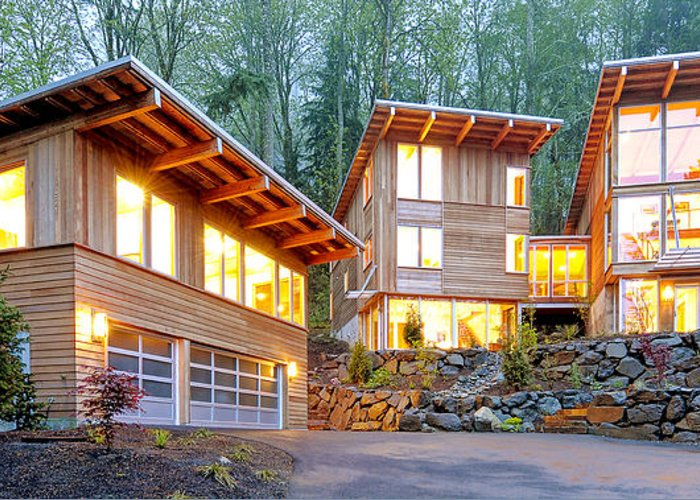 Architecture Greeting Card featuring the photograph Modern Home In Woods by Will Austin
