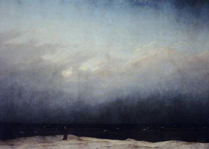 Art Greeting Card featuring the painting Monk By Sea by Caspar David Friedrich