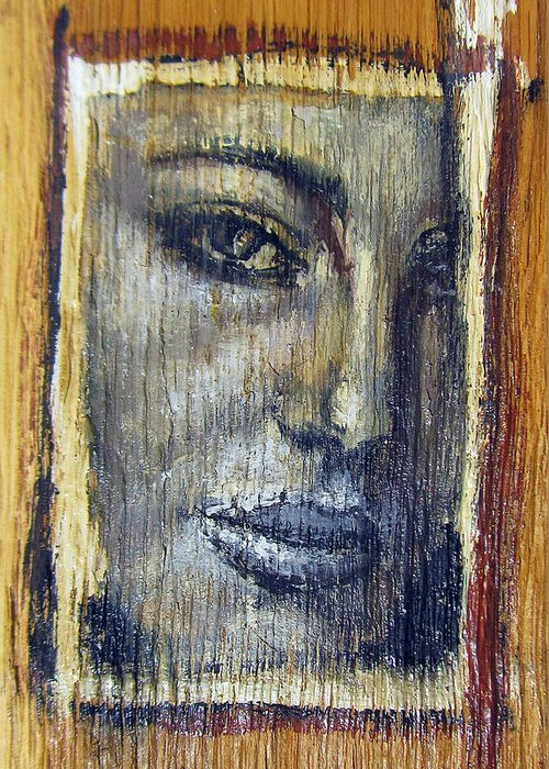 Adult Greeting Card featuring the painting Mysterious Girl Face Portrait - Painting On The Wood by Nenad Cerovic