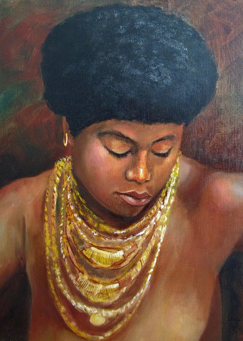 African American Greeting Card featuring the painting Naomi by Dominic Giglio