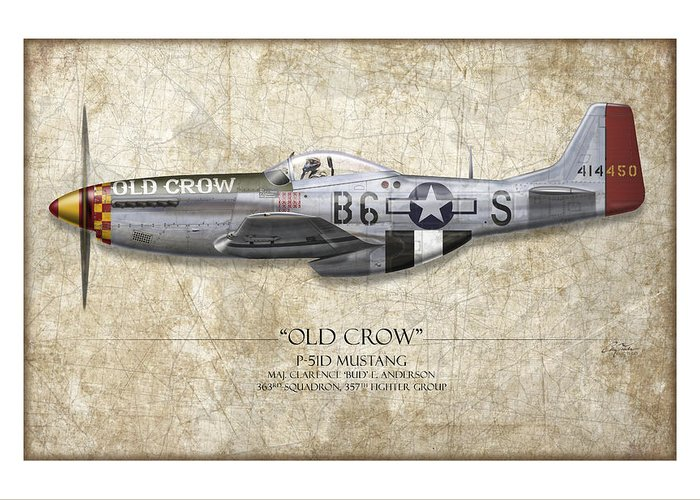 Aviation Greeting Card featuring the painting Old Crow P-51 Mustang - Map Background by Craig Tinder
