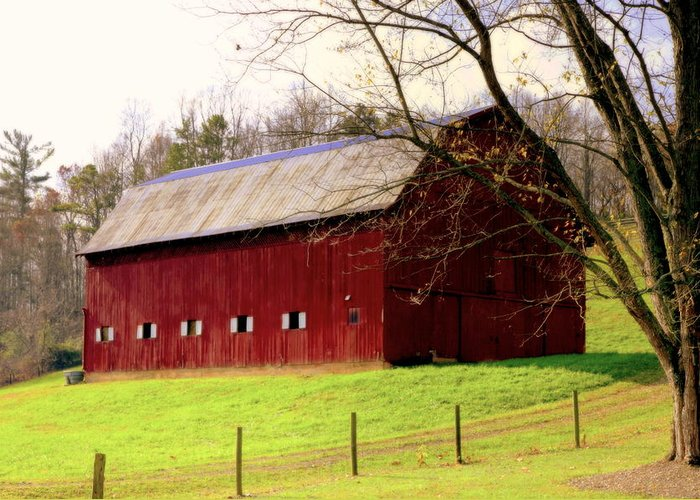 Red Barns Greeting Card featuring the photograph Old Red by Karen Wiles