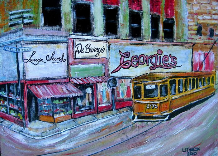 Tram Greeting Card featuring the painting Peel And St. Catherine 1955 by Michael Litvack