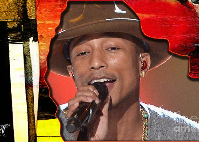 Tron Paintings Mixed Media Greeting Card featuring the mixed media Pharrell Williams by Marvin Blaine
