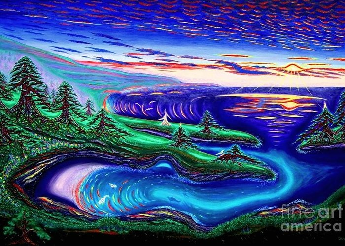 David Weaver Greeting Card featuring the painting Point Lobos California China Cove by David Earl Weaver