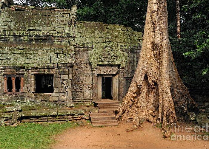 Preah Greeting Card featuring the photograph Preah Khantemple At Angkor Wat by Sami Sarkis