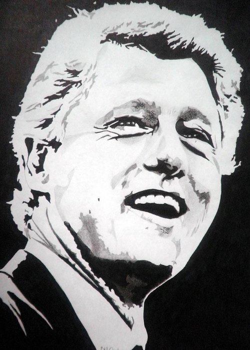President Greeting Card featuring the drawing President William Clinton by Robert Lance