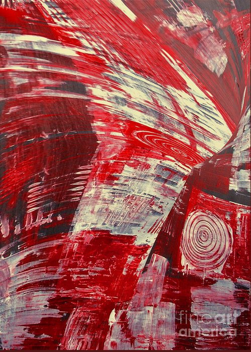 Living Room Greeting Card featuring the ceramic art Red And White by Gabriele Mueller