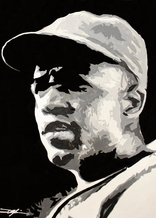 Jackie Robinson Greeting Card featuring the drawing Robinson 42 by Don Medina