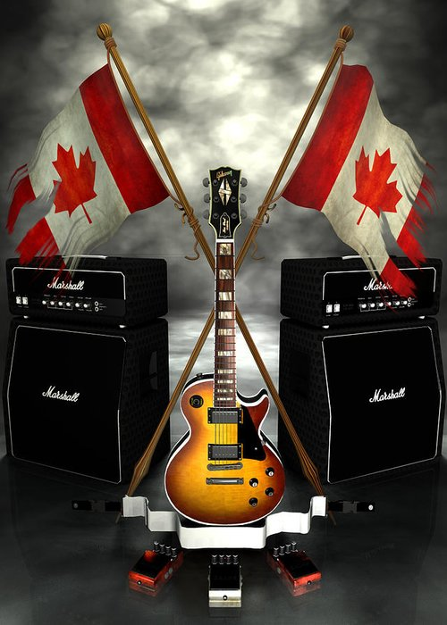 Rock N Roll Greeting Card featuring the digital art Rock N Roll Crest - Canada by Frederico Borges