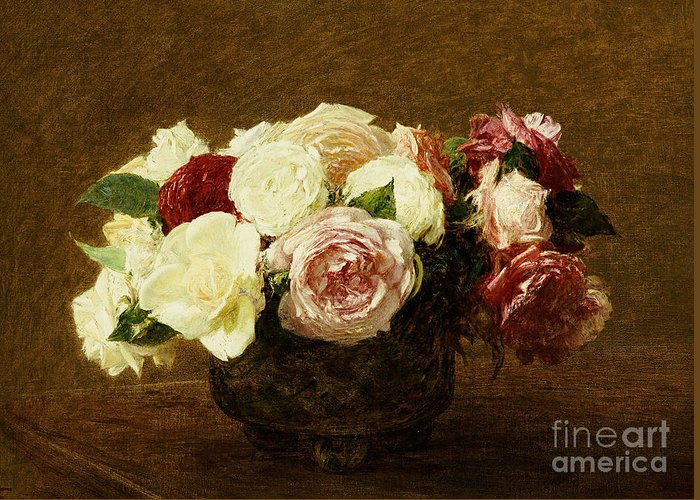 Roses Greeting Card featuring the painting Roses by Ignace Henri Jean Fantin-Latour