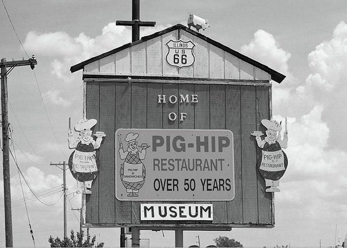 66 Greeting Card featuring the photograph Route 66 - Pig-hip Restaurant by Frank Romeo