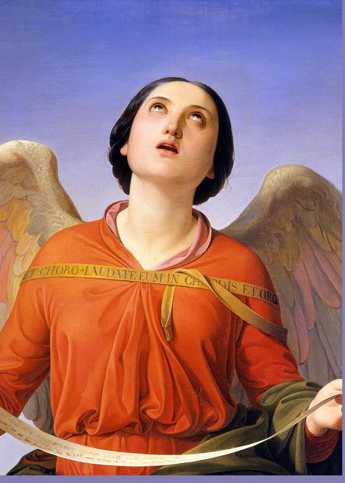 Angel Greeting Card featuring the painting Sacred Music by Luigi Mussini