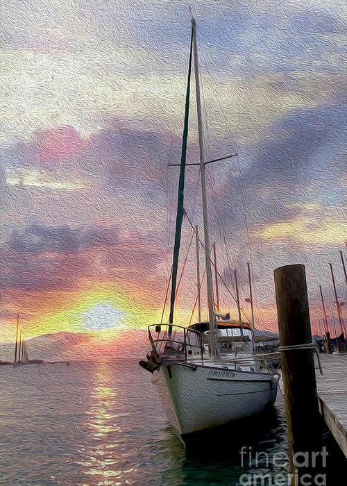 Sailboat Greeting Card featuring the mixed media Sailboat by Jon Neidert
