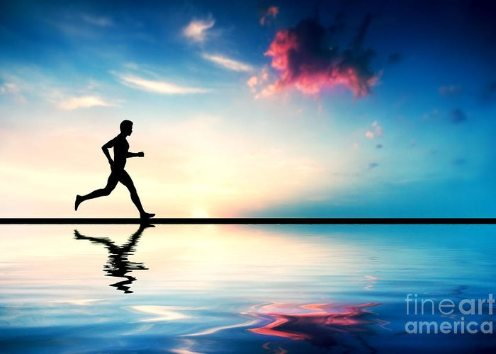 Jogging Greeting Card featuring the photograph Silhouette Of Man Running At Sunset by Michal Bednarek