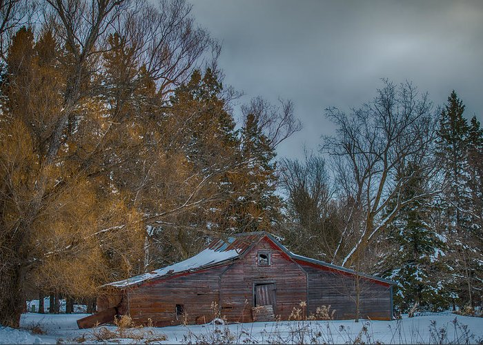 Old Barn Greeting Card featuring the photograph Small Barn by Paul Freidlund