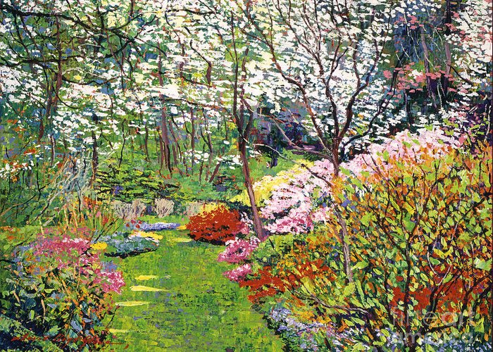 Landscape Greeting Card featuring the painting Spring Forest Vision by David Lloyd Glover
