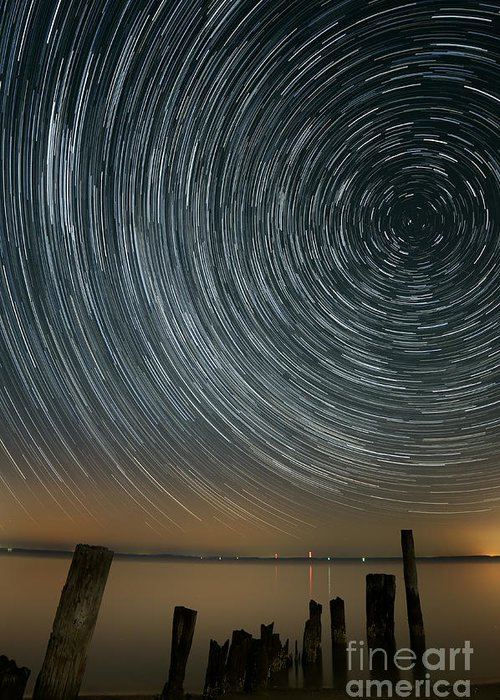 Water Greeting Card featuring the photograph Star Trails 1 by Benjamin Reed