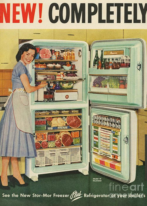 1950�s Greeting Card featuring the drawing Stor-mor 1950s Uk Fridges Freezers by The Advertising Archives