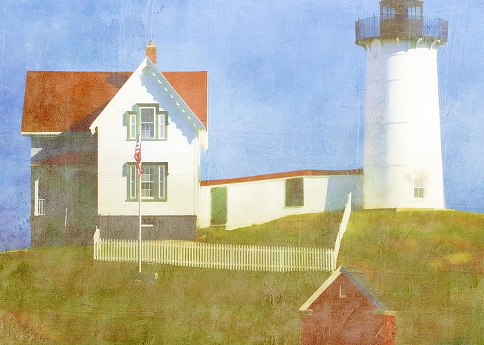 Light Greeting Card featuring the photograph Sunny Day At Nubble Lighthouse by Carol Leigh