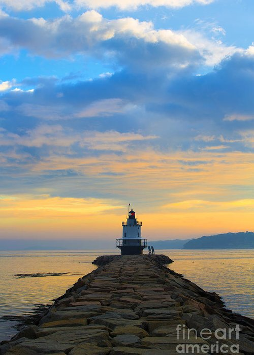 Lighthouse Greeting Card featuring the photograph Sunrise At Spring Point Lighthouse by Diane Diederich