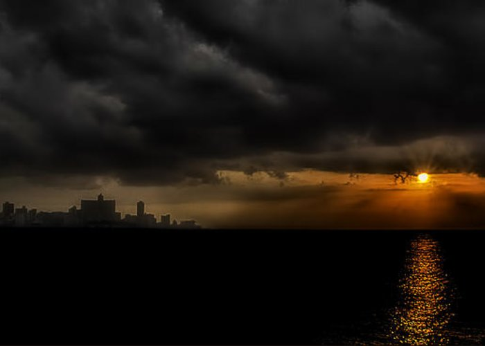 America Greeting Card featuring the photograph Sunset In Havana by Erik Brede