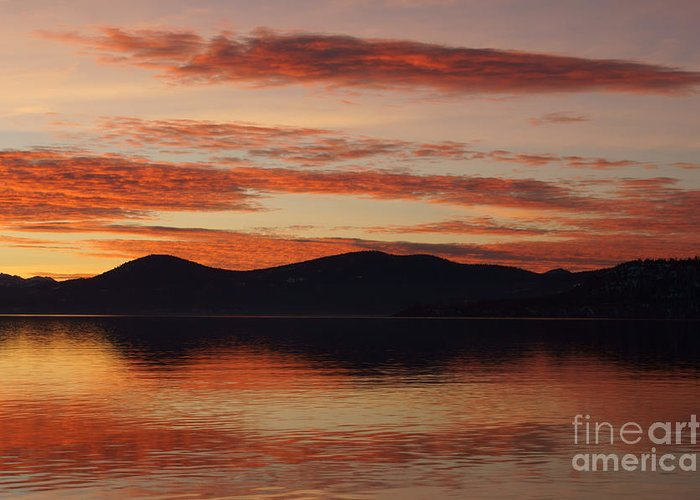 Sunset Greeting Card featuring the photograph Sunset Over Lake Tahoe by Benjamin Reed