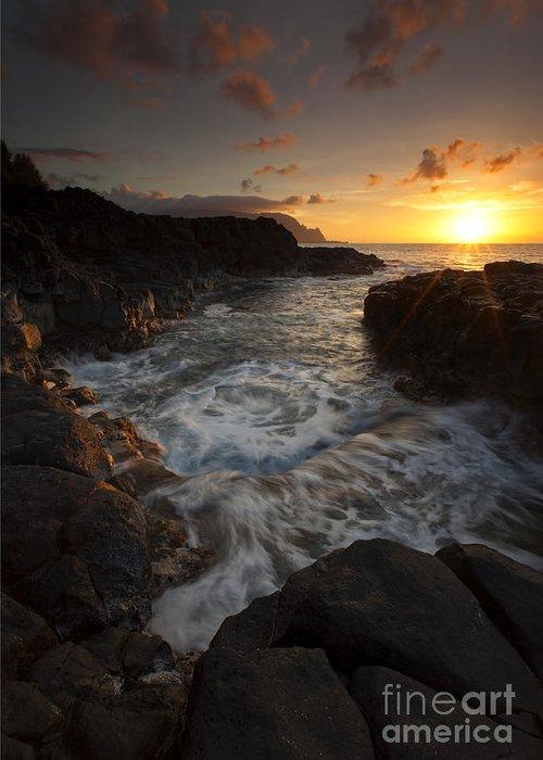 Tidepool Greeting Card featuring the photograph Sunset Pool by Mike Dawson