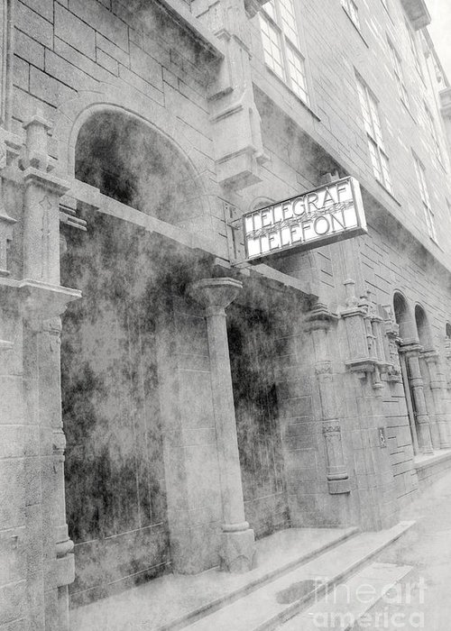 Telegraf Greeting Card featuring the photograph Telegraf Building In Foggy Oslo by Sophie Vigneault