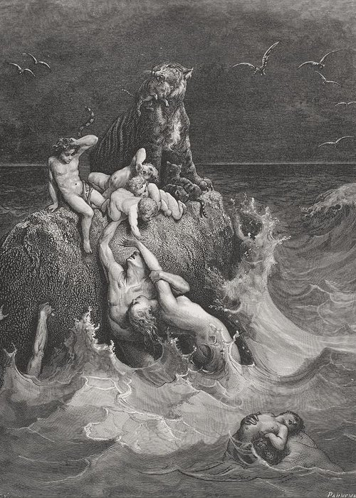 Drowning Greeting Card featuring the painting The Deluge by Gustave Dore