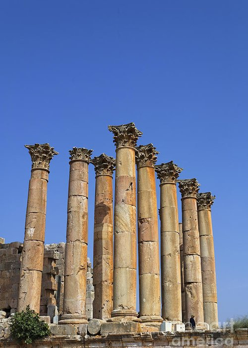 Temple Greeting Card featuring the photograph The Temple Of Artemis At Jerash Jordan by Robert Preston