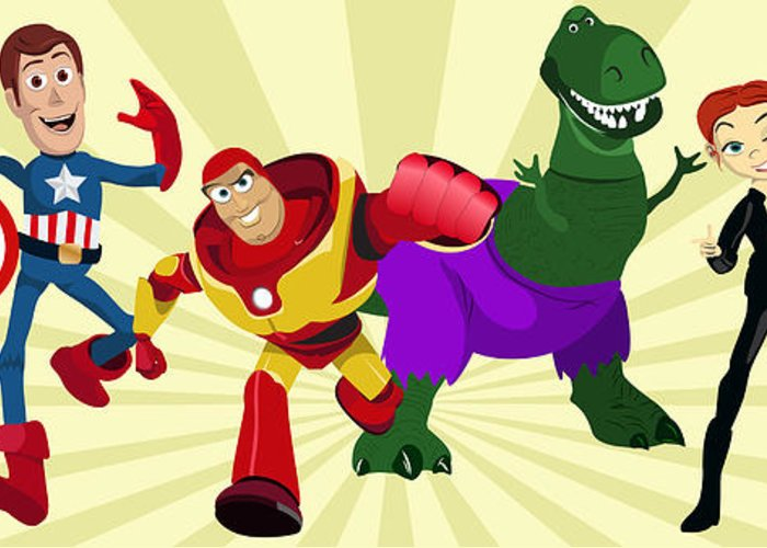 Toy Greeting Card featuring the painting Toy Story Avengers by Lisa Leeman