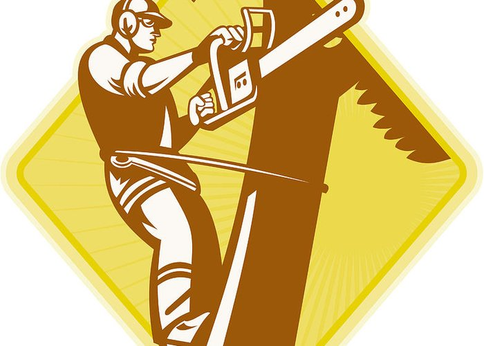 Lumberjack Greeting Card featuring the digital art Tree Surgeon Arborist Chainsaw Retro by Aloysius Patrimonio