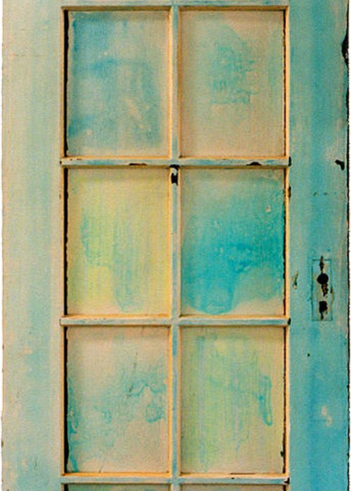 Painted Door Greeting Card featuring the painting Turquoise And Pale Yellow Panel Door by Asha Carolyn Young