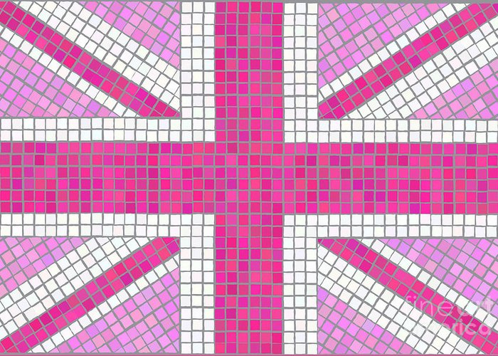Background Greeting Card featuring the digital art Union Jack Pink by Jane Rix
