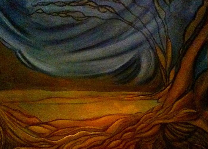 Landscape Greeting Card featuring the painting Untitled by Juliann Sweet