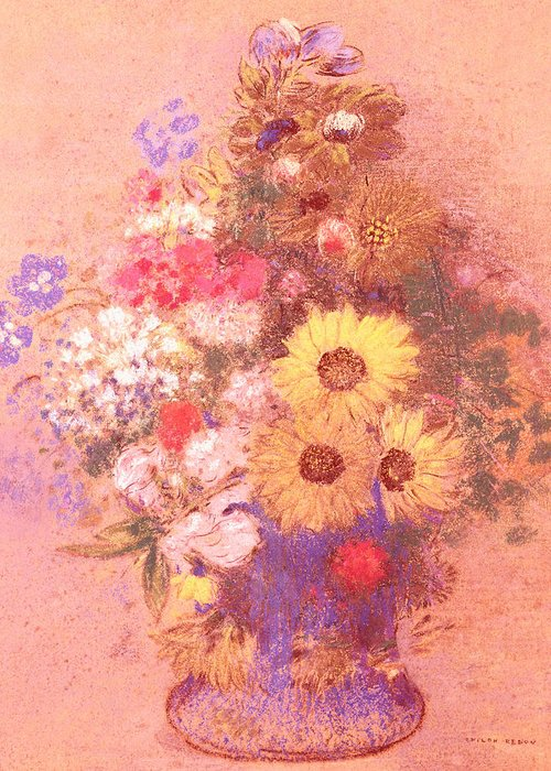 Still Life; Flower Greeting Card featuring the painting Vase Of Flowers by Odilon Redon