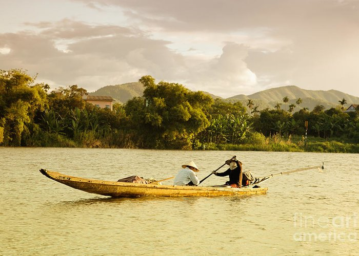 Canoe Greeting Card featuring the photograph Vietnamese Fishermen by Fototrav Print