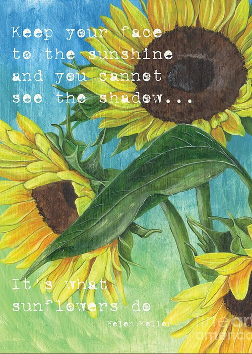 Flowers Greeting Card featuring the painting Vince's Sunflowers 1 by Debbie DeWitt