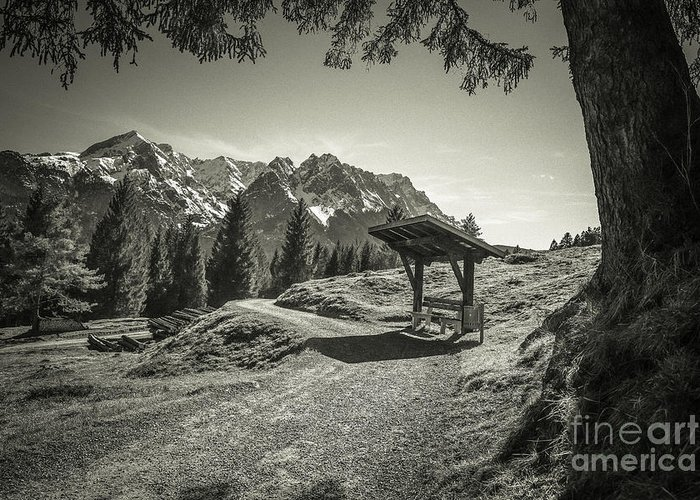 Alpspitze Greeting Card featuring the photograph walking in the Alps - bw by Hannes Cmarits