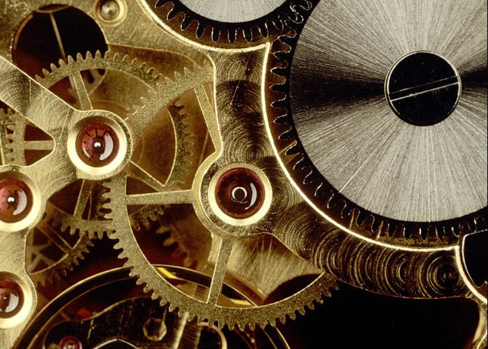 Accuracy Accurate Clocks Clockworks Clockwork Clock Close-ups Close-up Closeup Close Up Cogwheels Cogwheel Cropped Details Detail Exact Interactions Interaction Measurement Measures Measure Measuring Mechanics Mechanisms Mechanism Nobody Partial View Picture Details Picture Detail Precise Propulsions Propulsion Studio Shots Studio Shot Technical Technologies Technology Time Measurements Time Measurement Time Transmissions Transmission Greeting Card featuring the photograph Watch Mechanism. Close-up by Bernard Jaubert