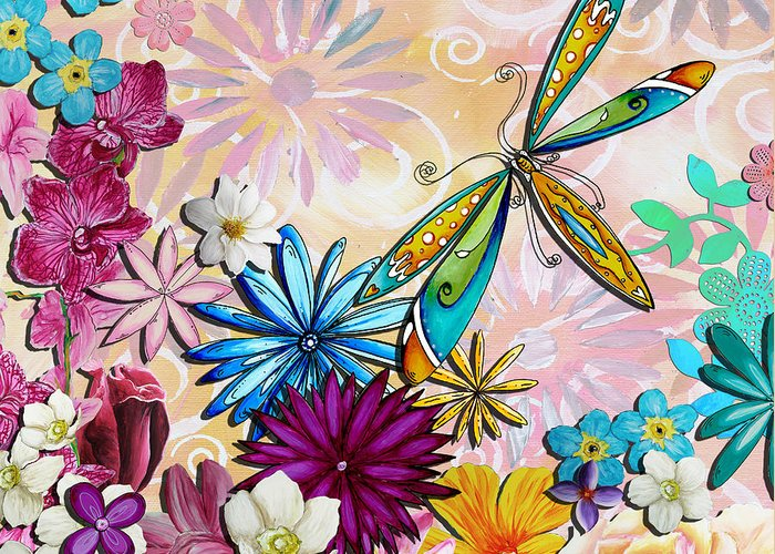 Flowers Greeting Card featuring the painting Whimsical Floral Flowers Dragonfly Art Colorful Uplifting Painting By Megan Duncanson by Megan Duncanson