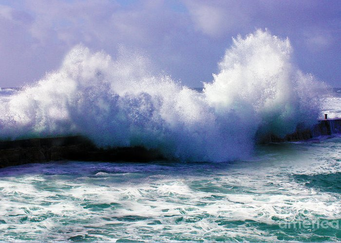 Stormy Greeting Card featuring the photograph Wild Waves In Cornwall by Terri Waters