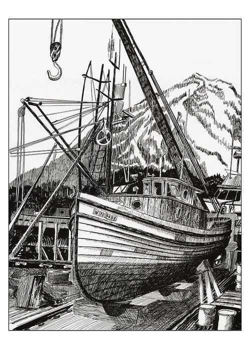 Commercial Fishing Boat Art Greeting Card featuring the drawing Will Fish Again Another Day by Jack Pumphrey